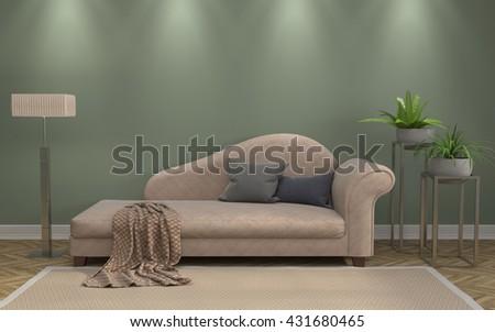interior with sofa. 3d illustration #431680465