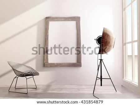 Picture mock-up in the wooden frame, interior design with palucco lamp