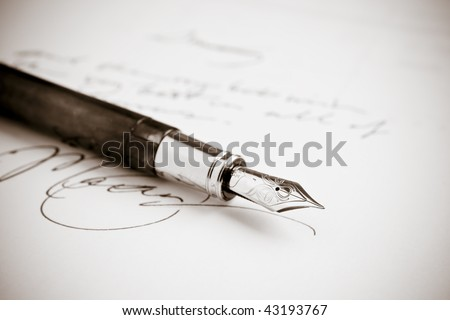 Antique Fountain Pen with Obscured Writing Royalty-Free Stock Photo #43193767