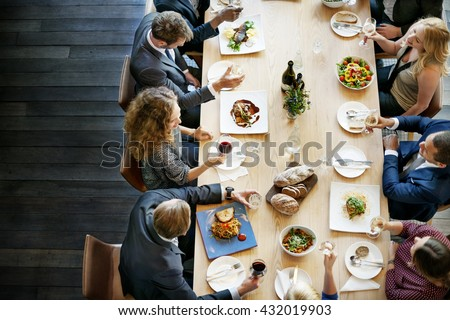 Business People Lunch Celebration Together Corporate Concept Royalty-Free Stock Photo #432019903