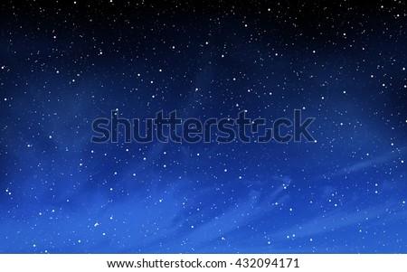 Deep night sky with many stars background Royalty-Free Stock Photo #432094171