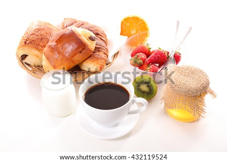 breakfast with coffee cup and croissant #432119524