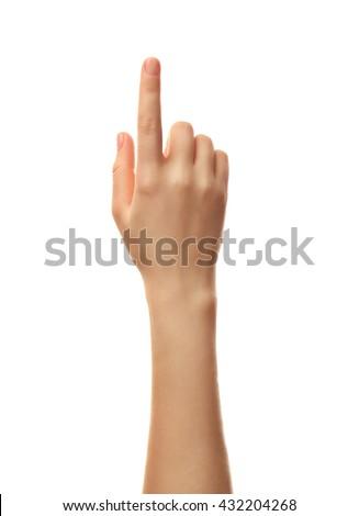 Female hand on white background Royalty-Free Stock Photo #432204268