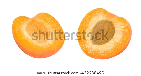 Two fresh slices of apricot isolated on white background. One slice with core. Design element for product label, catalog print, web use. #432238495