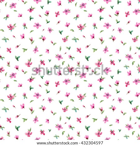 Watercolor floral pattern, seamless pattern simple, delicate pink flowers, white background #432304597