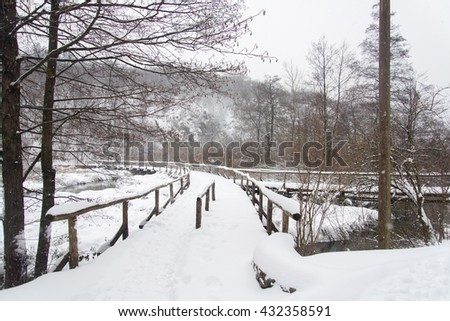 Storm snow at Plitvice Lakes National Park, Croatia #432358591