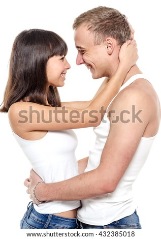 Couple. Beautiful couple over white background. Happy young family. #432385018