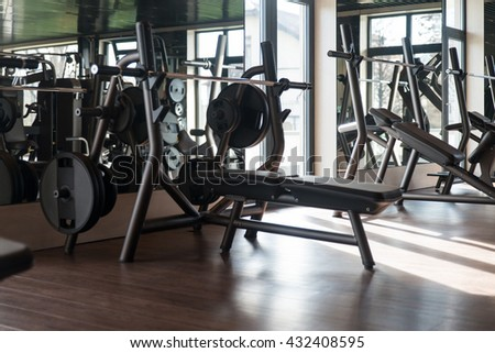 Equipment And Machines At The Modern Gym Room Fitness Center #432408595