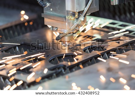 High precision CNC gas cutting metal sheet Royalty-Free Stock Photo #432408952