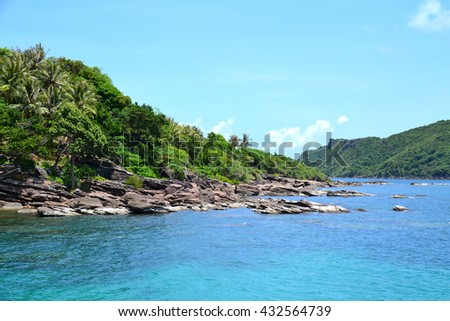 View on the tropical island from the boat #432564739
