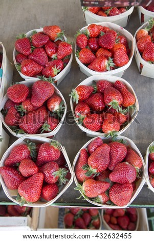Red Strawberry Fruit Background on Market Stall, #432632455