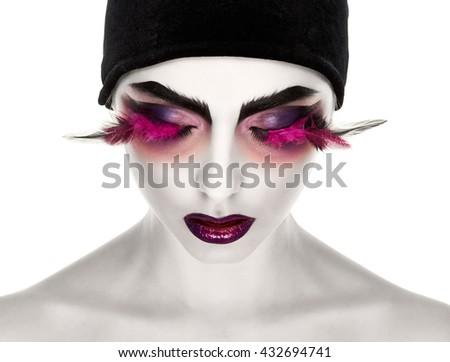 Surreal lady with long eyelashes #432694741