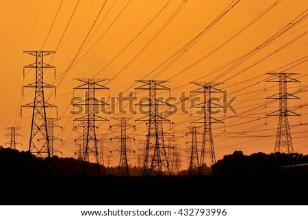 electric, high voltage ,  cable on sunset #432793996