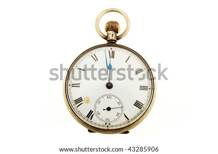 Antique pocket watch with the hands at midnight #43285906
