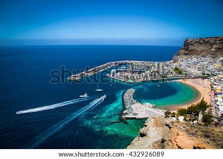 Puerto de Mogan town on the coast of Gran Canaria island, Spain. #432926089