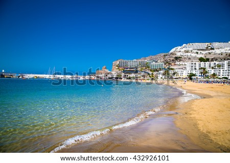 Public beach of Puerto Rico on Gran Canaria. Spain. Royalty-Free Stock Photo #432926101