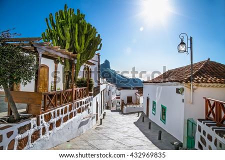 Tejeda village at Gran Canaria, Spain. Royalty-Free Stock Photo #432969835