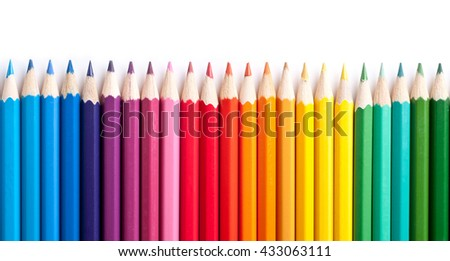 Color pencils isolated on white background.Close up. #433063111