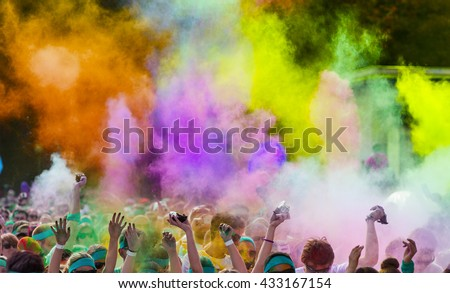 Close-up of marathon, people covered with colored powder. #433167154