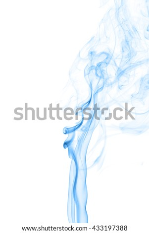 Abstract blue smoke on white background from the incense sticks #433197388