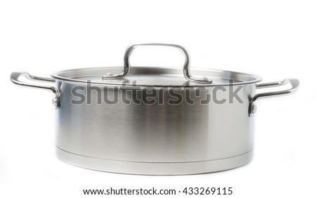 Stainless steel pot on white background #433269115