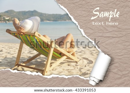 woman relaxing in a deckchair on the beach. Cover, flyer, brochure design for tourism