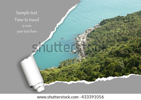 Background with photo from vacation on beautiful a seaside with effect ofripped paper. Design, advertising, concept