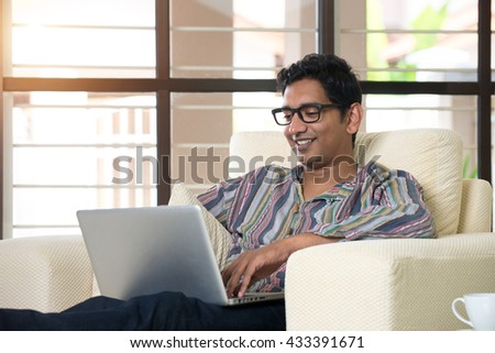 indian male using laptop #433391671