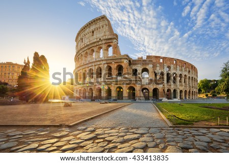 View of Colosseum in Rome and morning sun, Italy, Europe. Royalty-Free Stock Photo #433413835