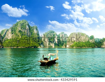 HALONG bay in vietnam. UNESCO World Heritage Site. This view from TiTop island and its most popular view for travel in Halong bay. #433429591