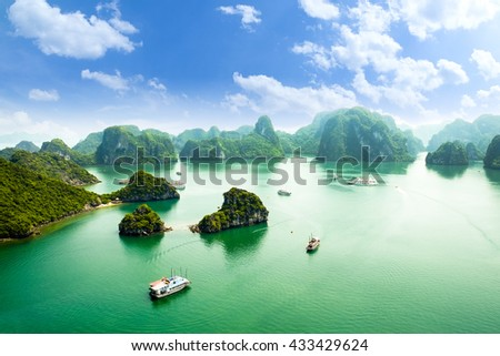 HALONG bay in vietnam. UNESCO World Heritage Site. This view from TiTop island and its most popular view for travel in Halong bay. Royalty-Free Stock Photo #433429624