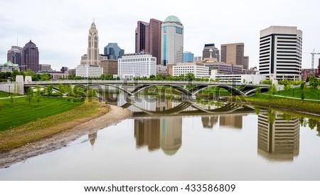 Classic Bridge and skyline of Columbus Ohio