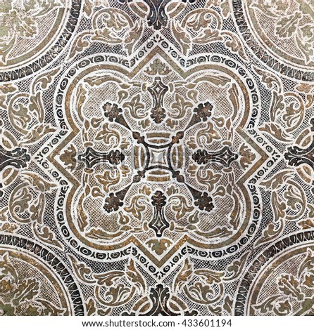 flower ornamental vintage tile classic travertine marble texture