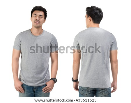 Grey t shirt on a young man template on white background. #433611523