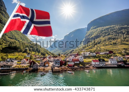 Beautiful Fishing village Undredal against mountain near the Flam in Norway #433743871