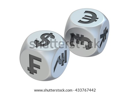 Currency exchange concept, dices with currencies. 3D rendering #433767442