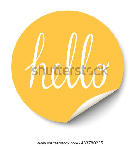 Vector circle sticker with curled corner and hello text inside. Royalty-Free Stock Photo #433780255