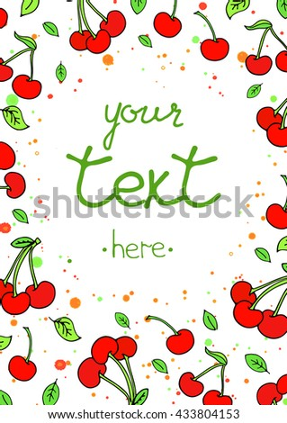 Summer party design poster, greeting card or flyer decorated with colorful cherry. Vector template illustration. Happy Birthday Invitation. Sweet cartoon vector. Party invitation.Hand lettering #433804153