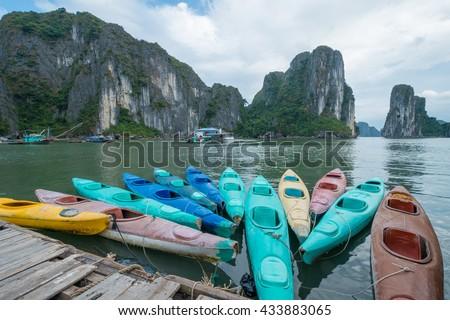 Colorful Kayak in Halong Bay, Quang Ninh, Vietnam. Royalty-Free Stock Photo #433883065
