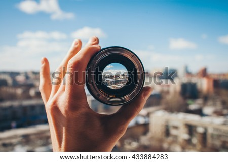 City view through the lens Royalty-Free Stock Photo #433884283