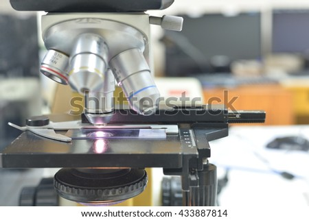 Close up of microscope at the  laboratory #433887814
