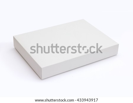 White flat pasteboard box isolated on white background with original shadow with clipping path Royalty-Free Stock Photo #433943917
