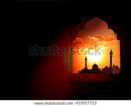Ramadan Kareem background.Mosque window  Royalty-Free Stock Photo #433957753