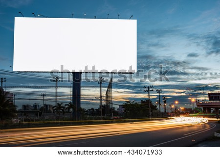 billboard blank for outdoor advertising poster or blank billboard at night time for advertisement. street light Royalty-Free Stock Photo #434071933