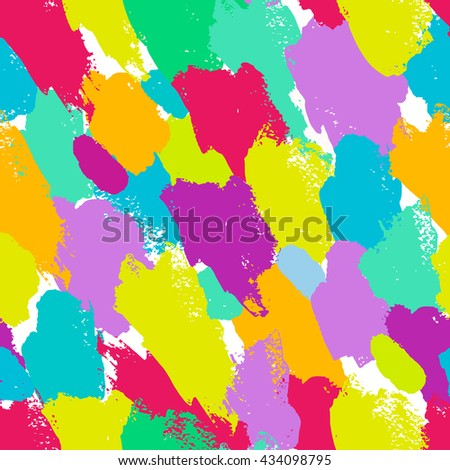 Seamless colorful pattern with brush strokes #434098795