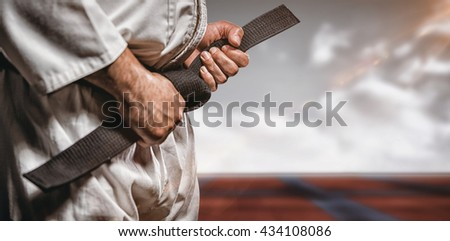 Fighter tightening karate belt against digitally generated image of bi colored sports ground #434108086