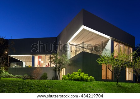 Architecture modern design, concrete house, night scene Royalty-Free Stock Photo #434219704