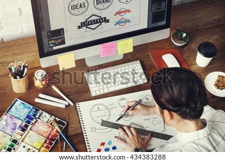 Ideas Creative Occupation Design Studio Drawing Start up Concept