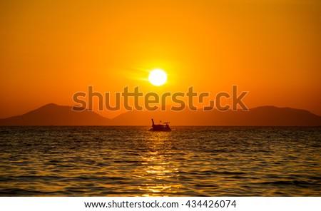 Long Boat Silhouette at Sunset from Railay Beach, Krabi, Ao Nang, Thailand #434426074