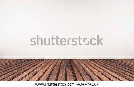 Wooden floor and white wall #434474107